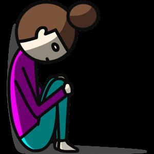 膝を抱えうなだれる女性のイラスト
