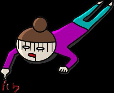 むりと書きながら倒れる女性のイラスト