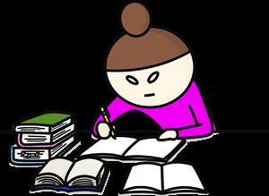 本を積み上げノートに必死に書き込む勉強をする女性のイラスト
