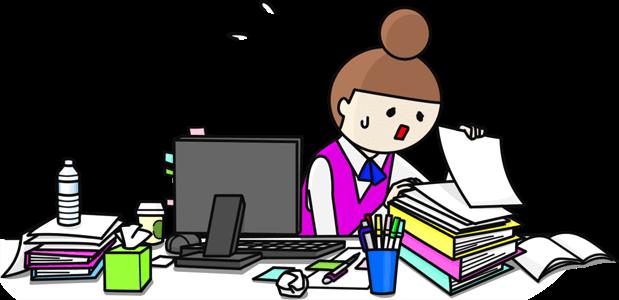 オフィスの机であたふたと捜し物をする女性のイラスト